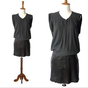 Rebecca Taylor Edgy Leather Mixed Media Dress